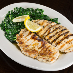 Fresh Grilled Chicken over Sauteed Spinach